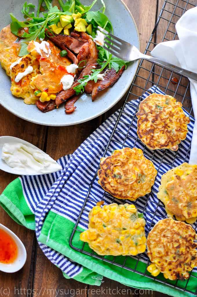 Healthy 5 ingredient sweet corn fritter recipe that is quick and easy to make, sugar free, low carb and low fat.
