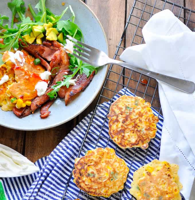 low carb corn fritters on a wire rack