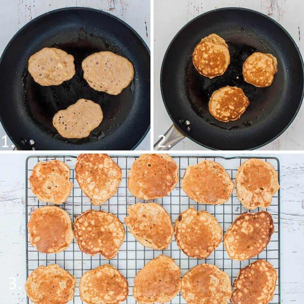 Cooking banana pikelets in a pan
