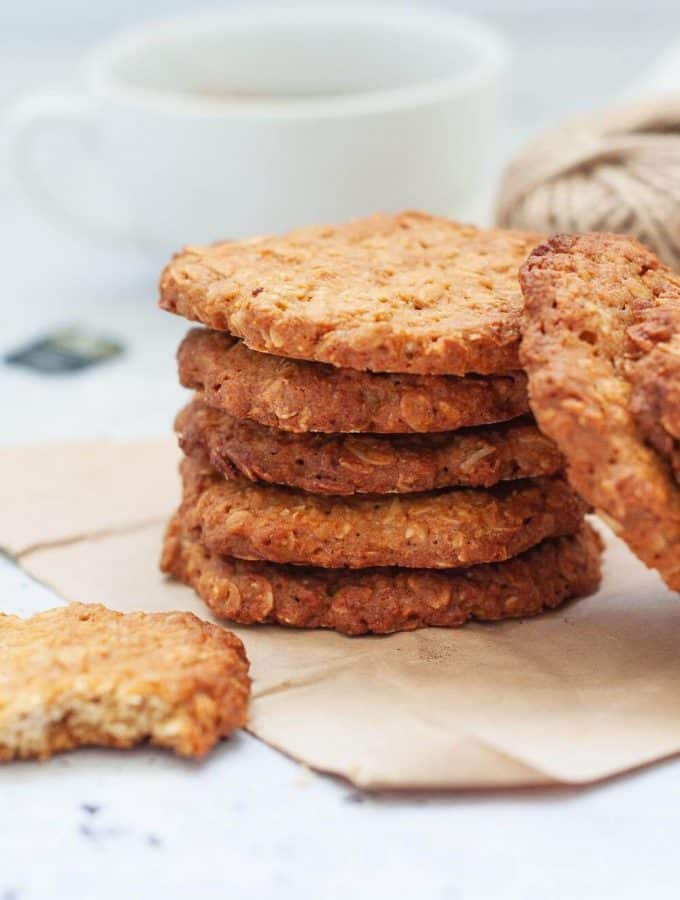 Stacked healthy anzac biscuits
