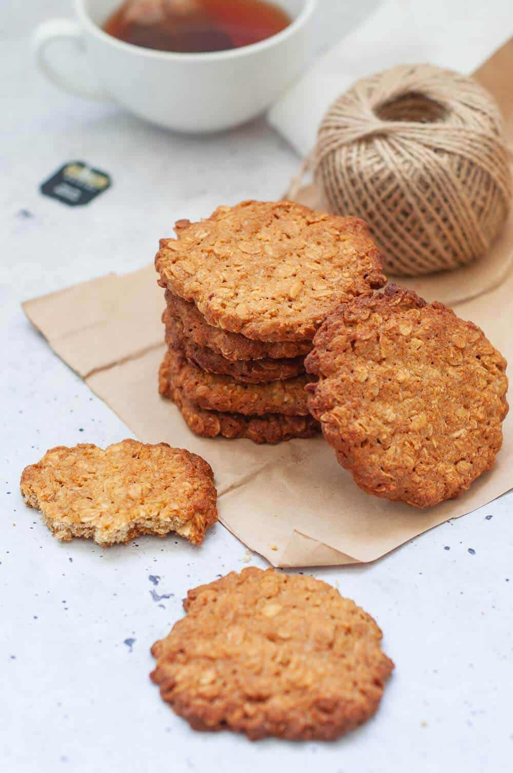 healthy anzac biscuits with a cup of tea