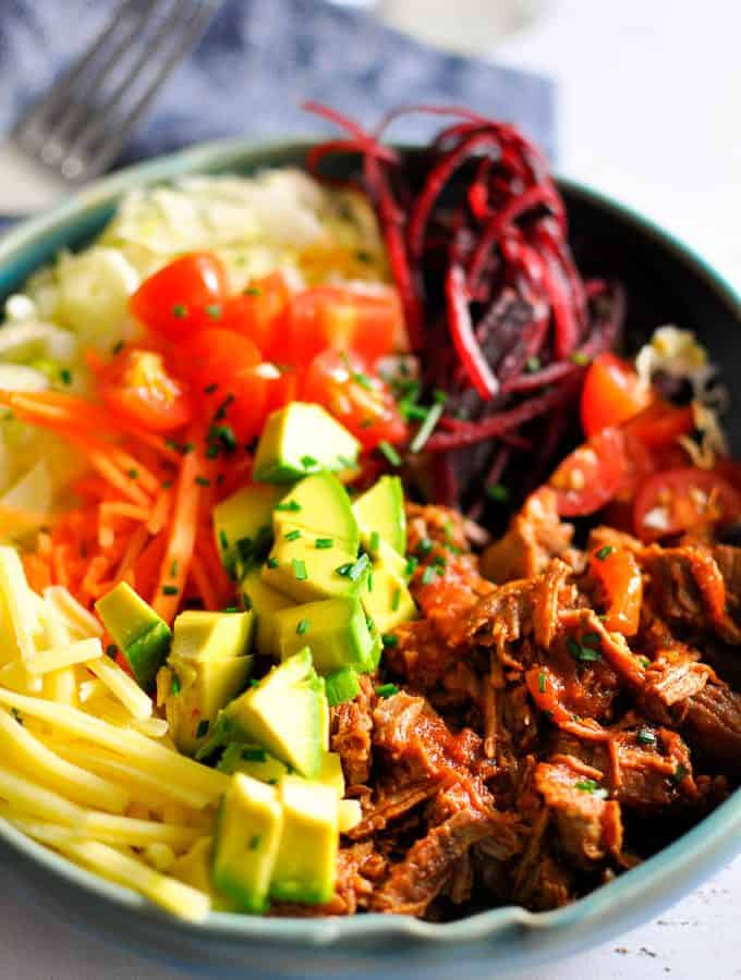 Mexican pulled beef taco bowls are perfect for sunday evening dinners with healthy crunchy salad