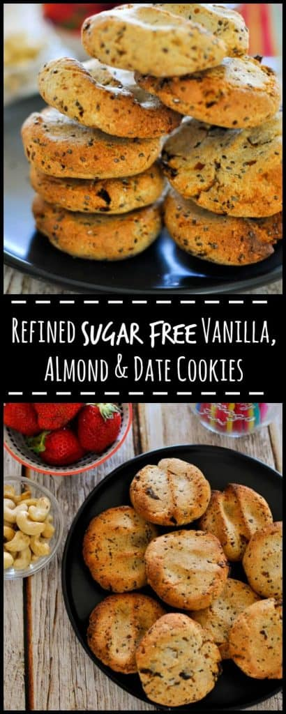 Healthy vanilla, almond and date cookies are refined sugar free and 153 calories per serve.