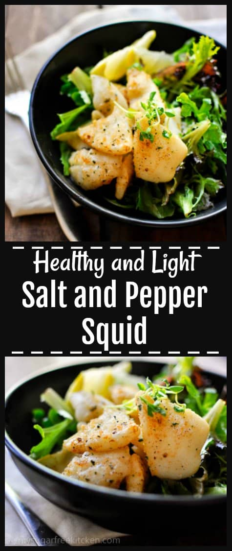This healthy and light salt and pepper squid salad is the perfect easy weeknight summer meal. Soft, frangrant and completely grease free!  15 Minutes and under 300 calories.