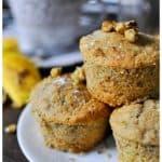 Sugar free healthy banana and walnut muffin cakes | 188 calories | freezer friendly