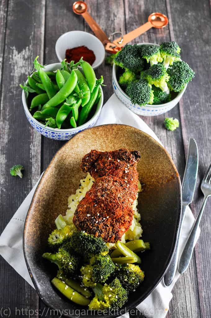 Spicy clean eating paprika chicken with healthy greans and mash | easy weeknight dinner