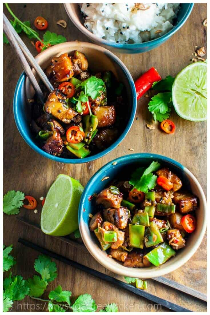 A lightened up and healthier version of thai hot and sour pork with sticky rice