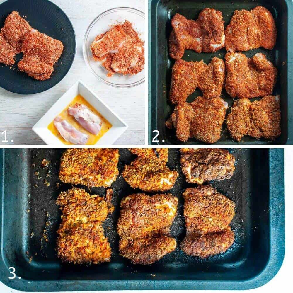 crumbing the chicken in the spices and arranging in a baking tray