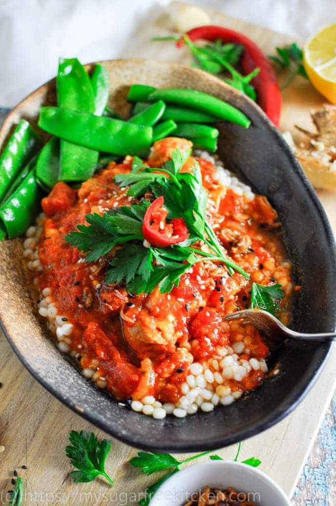 Spicy Moroccan Chicken Casserole with Pearl Cous Cous and Greens | Clean Eating | Under 400 Calories | Slow Cooker