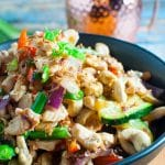 Easy and healthy chicken cashew stirfry bowl with healthy veges and rice.