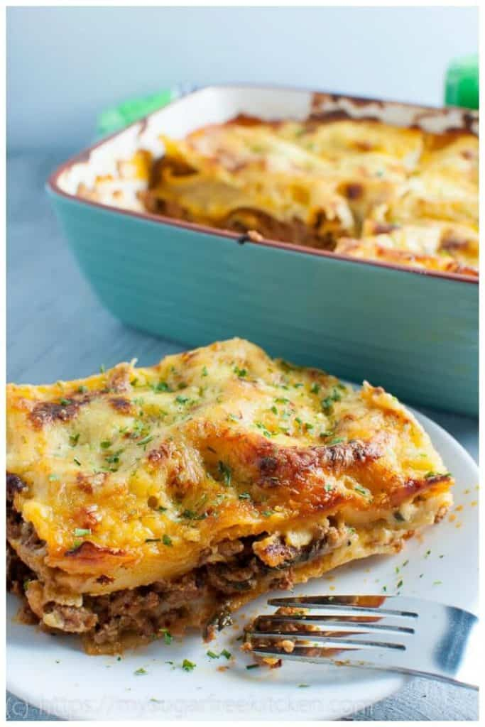 Homemade meat lasagna without ricotta cheese