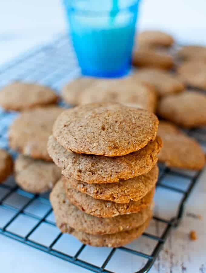 Sugar Free Almond Flour Peanut Butter Cookies Stacked