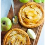 No added sugar, naturally sweetened Apricot Glazed Apple Tart on Puff Pastry