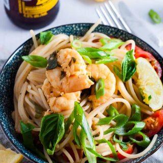 Made in 30 minutes - Lemon Garlic Prawns with Spaghetti Pasta.