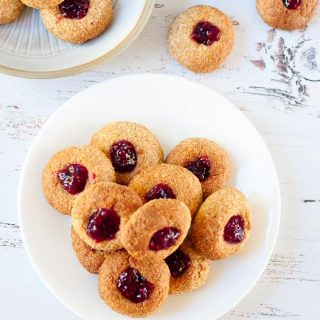 Coconut jam drops made with spelt flour and containing no refined sugars.