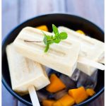 Sugar free mango coconut popsicles with only 4 ingredients