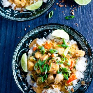 Healthy fragrant and light Fish Panang Curry, perfect for quick weeknight dinners.
