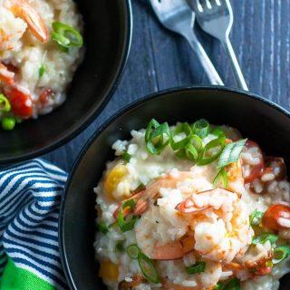 Healthy light and creamy garlic prawn and tomato risotto.