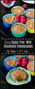 Rich and delicious no bake mini sugar free chocolate cheesecakes