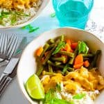 Rich, creamy and healthy Chicken Satay Curry with rice.