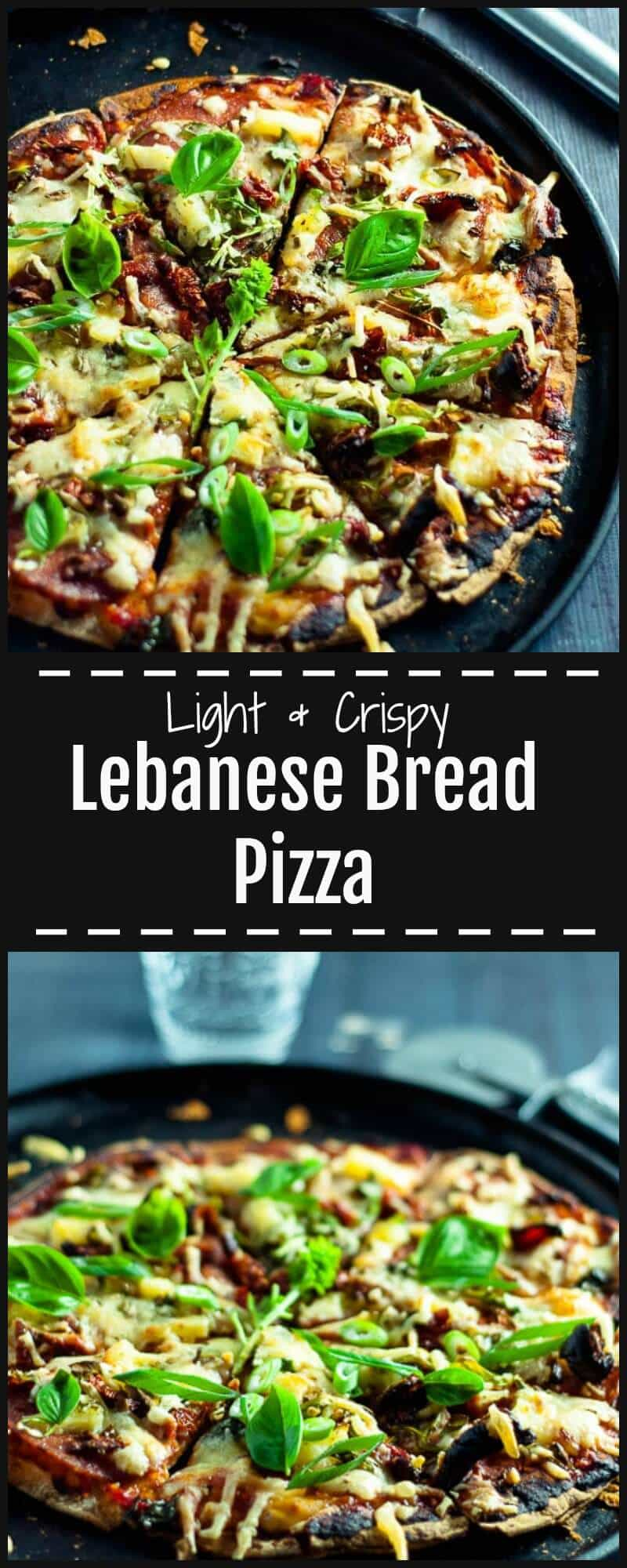 Healthy and Easy low calorie Lebanese Bread Pizza that is light, crispy, crunchy, spicy and ready in 20 mins. Double Cooked Base, with salami plus toppings.