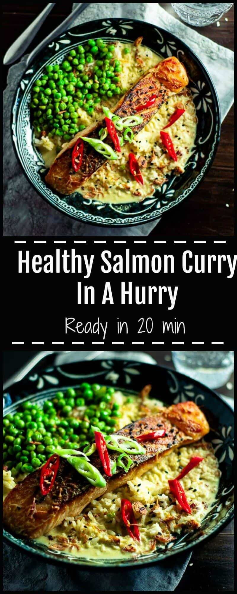 Salmon curry in a hurry is a simple no nonsense dish, perfect for midweek dinners, packed with heart healthy crispy skin salmon, rich creamy curry sauce and crunchy fried shallots, sesame seeds, and sweet juicy green peas.