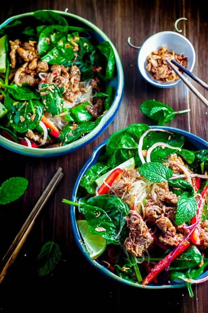 Light and zesty crunchy thai beef salad with tangy dressing.