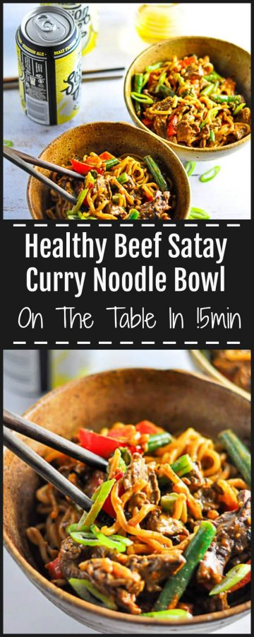 Healthy and Quick Beef Satay Curry Noodle Bowl On The Table in 15 minutes