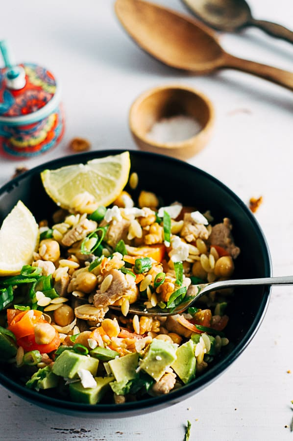 Chicken Risoni Salad with fork in bowl