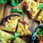 20 minute healthy Pocket Bread Pizza. Perfectly light and crispy with salami and pineapple topping.