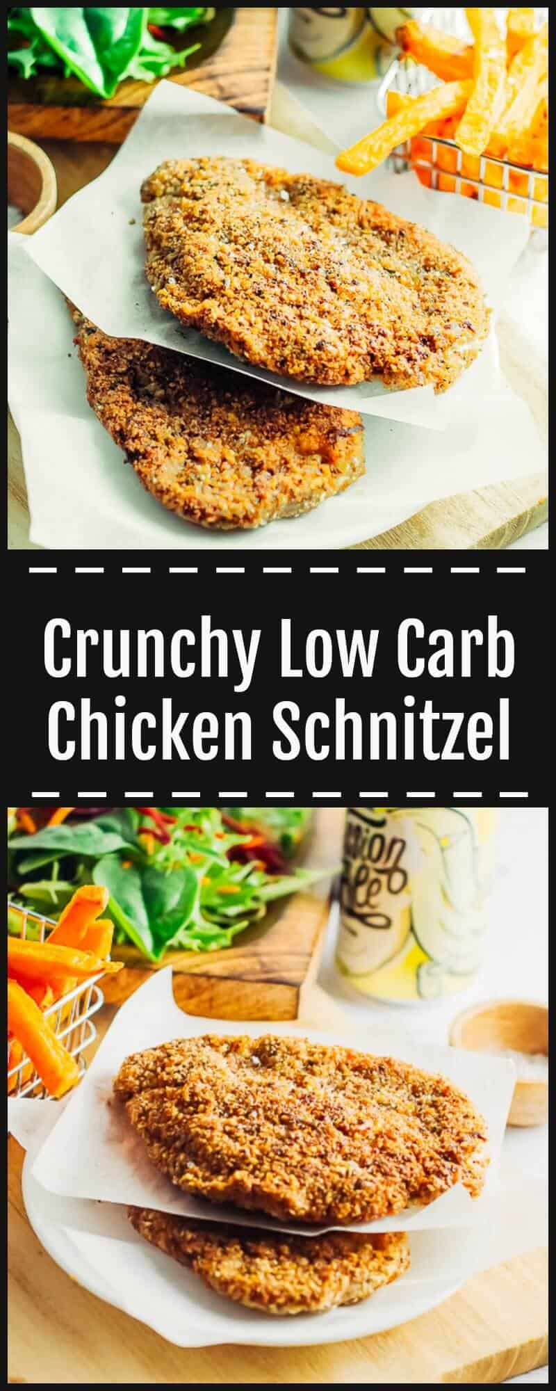 This Low Carb Chicken Schnitzel is an easy 30 min weeknight meal. High protein & crunchy, made with Hazelnut meal & flavoured with herbs, spices & parmesan.