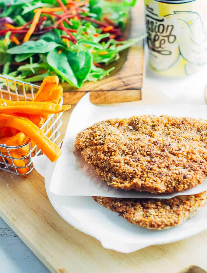 Easy weeknight Low Carn Chicken Schnitzel ready to serve.
