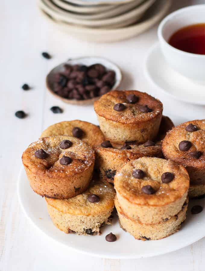 A plate of sugar free chocolate chip muffins