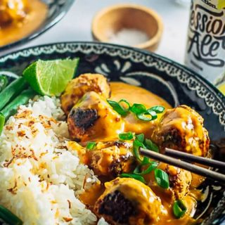 Delicious Thai Chicken Meatballs With Peanut Sauce ready to eat