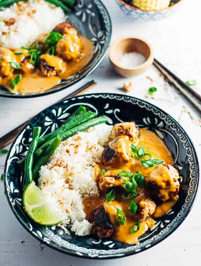Thai Chicken Meatballs With Peanut Sauce on the table in 30 minutes
