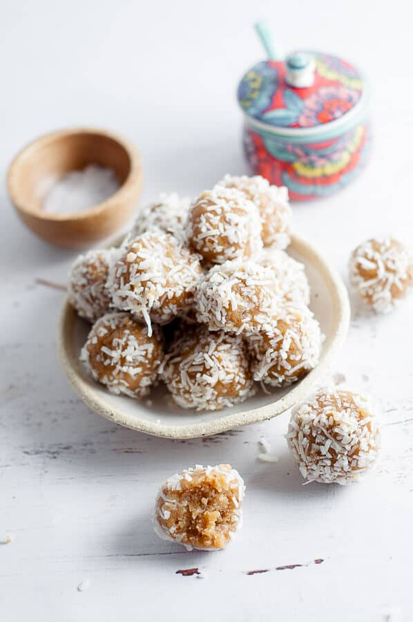 A bowl of date free bliss balls