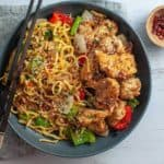 Salt and chilli chicken with noodles
