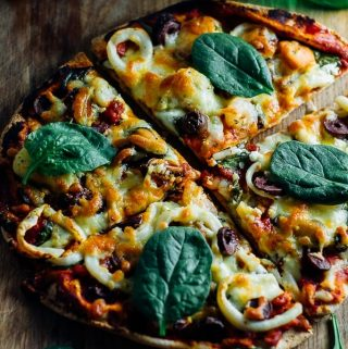 Seafood Marinara Pizza with basil on top