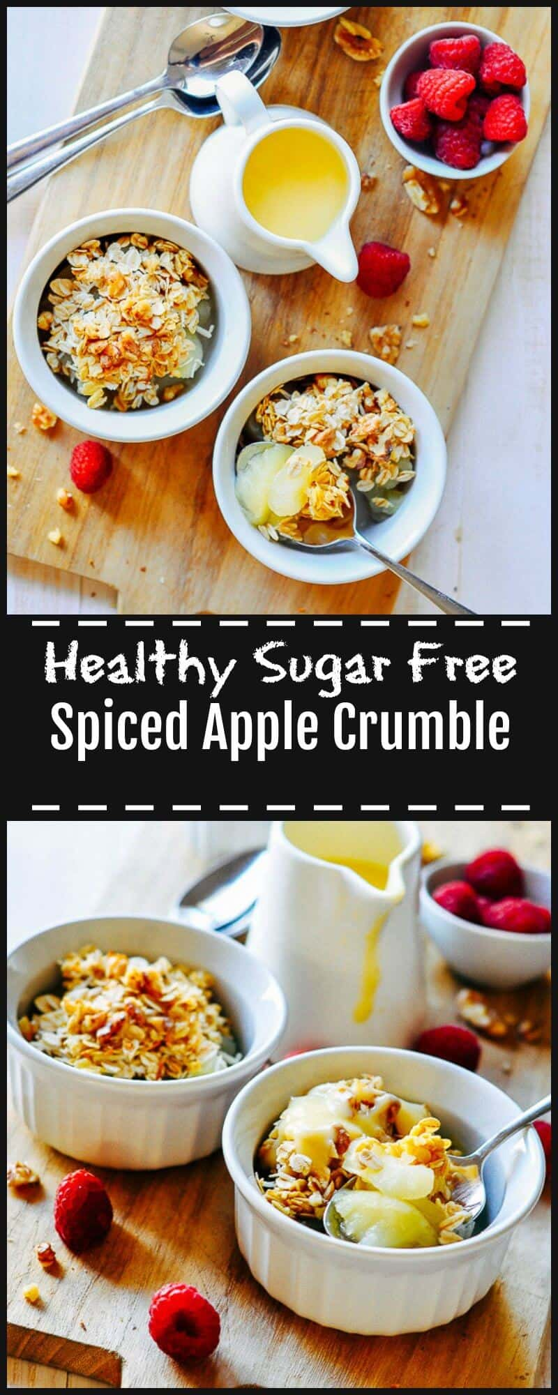 This Sugar Free Apple Crumble is an easy and delicious healthy dessert for any time of the year or season.  It has rich plump granny smith apples, warming spices and a slight tang of lime.  Naturally sweetened from the apples and a touch of stevia.
