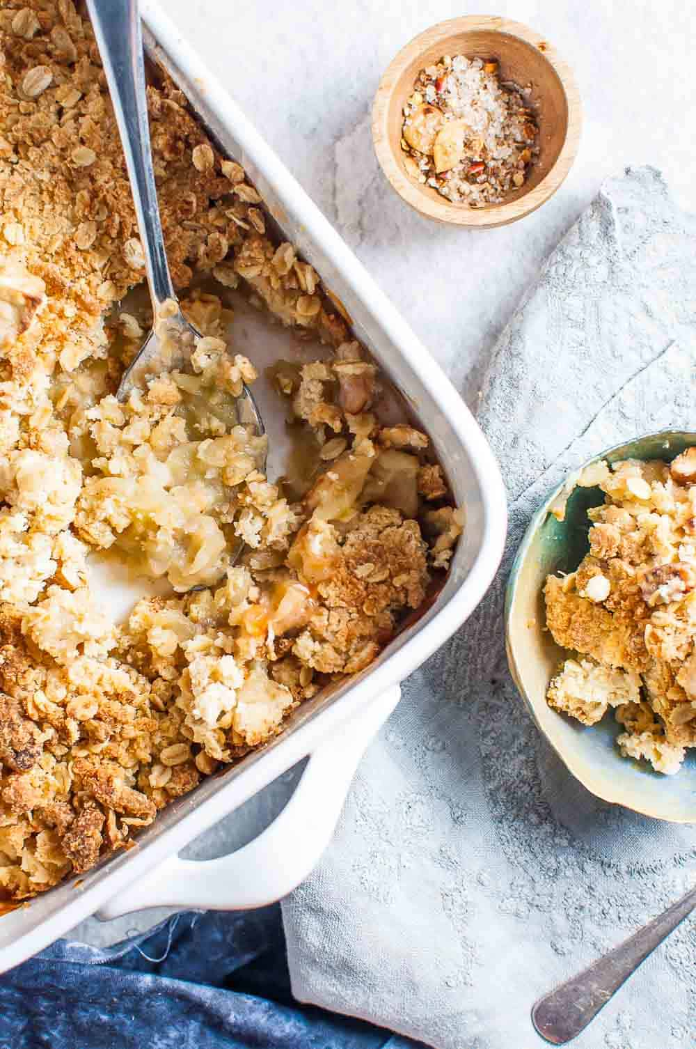 Sugar Free Apple Crumble in a baking dish