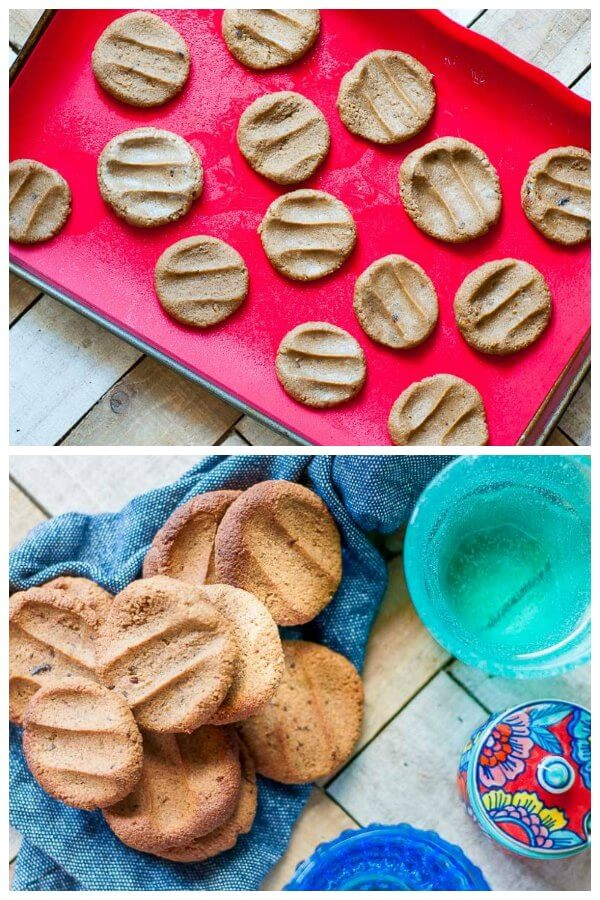 Photo collage of uncooked ginger biscuits on tray and cooked biscuits on a blue tea towel