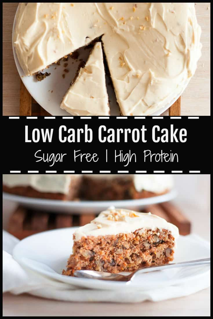 This Low Carb Carrot Cake is full of texture and flavour with lots of spices, soft juicy carrots, crunchy walnuts and rich creamy lemon frosting.  It's also deliciously moist and light, high in protein, free from refined sugars, and low in fat. #lowcarb #carrotcake #sugarfree #sugarfreebaking #sugarfreecake