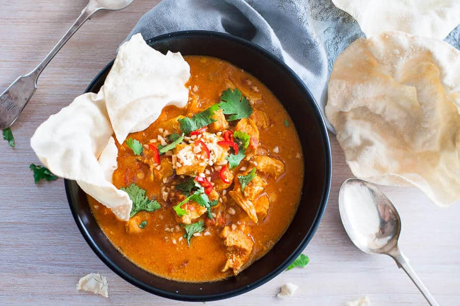 pressure cooker chicken curry overhead photo