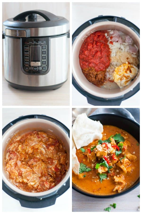 Pressure cooker chicken curry photo preparation collage