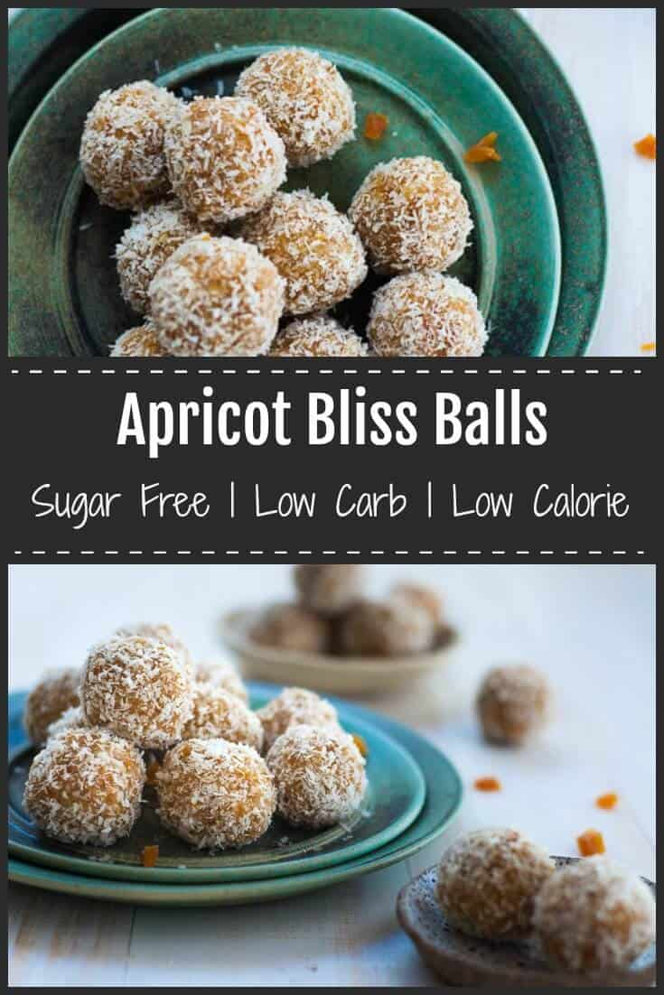 These Apricot Bliss Balls are free from refined sugar, low carb and low calorie. They are bursting with tangy apricot flavour, nutty cashews and coconut.  #sugarfree #blissballs #apricot #healthysnacks
