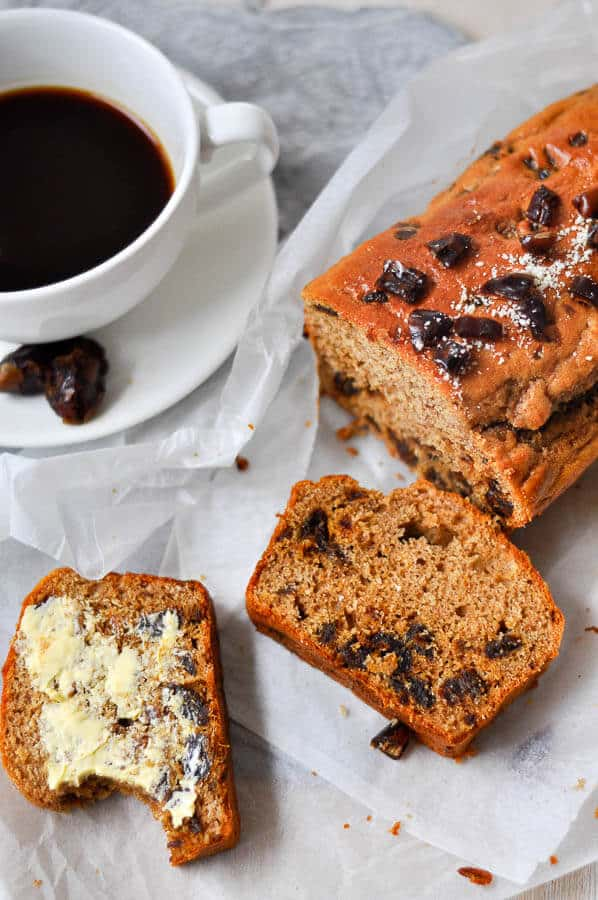 slices of healthy date loaf with butter