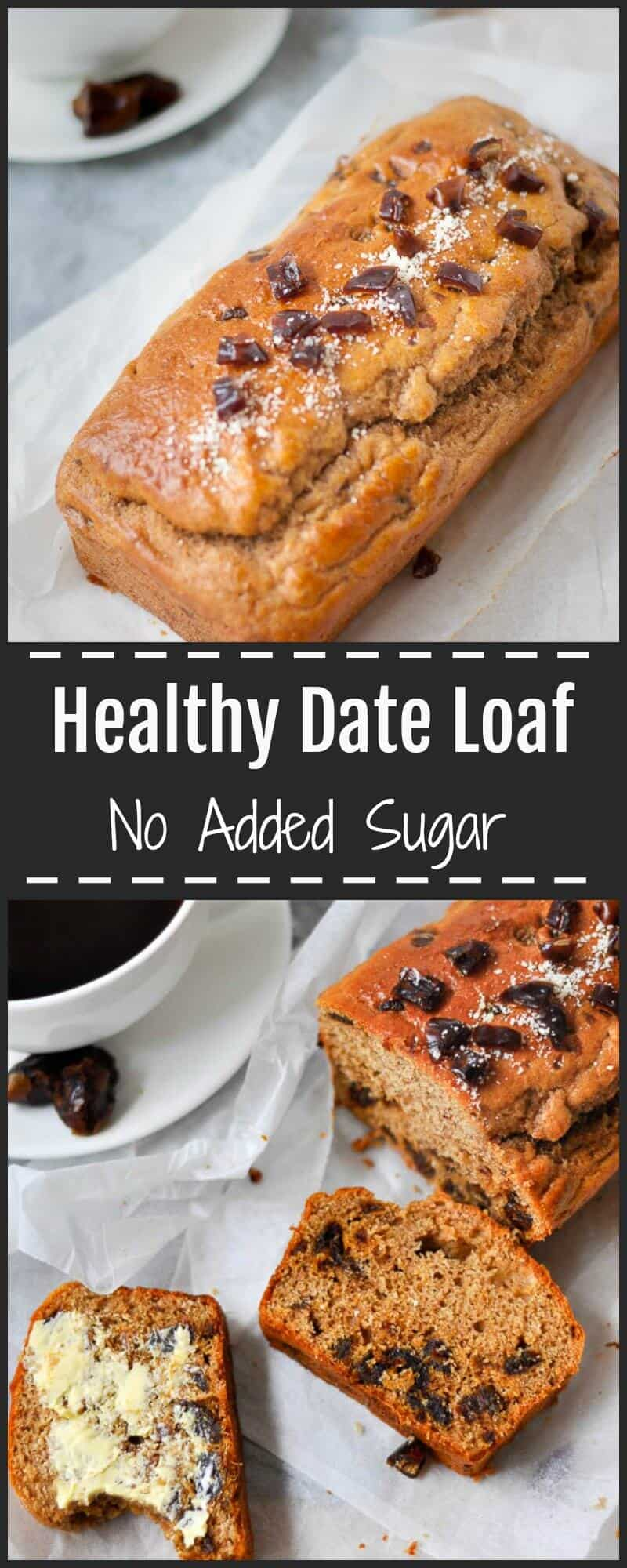 This easy to make Healthy Date Loaf contains no refined sugars and  is naturally sweetened with lots of juicy ripe dates and ground cinnamon spice.  It's only 8 ingredients and free from stevia/xylitol.  Very moist and makes 8 thick slices.