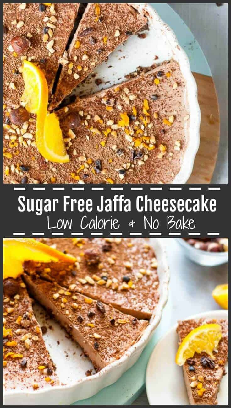 This no bake, sugar free chocolate orange Jaffa Cheesecake is smooth, rich and creamy, naturally sweetened with stevia, dates, fresh orange juice, and decadent cocoa powder for the ultimate cheesecake experience without the calories. #nobake #cheesecake #sugarfree #healthydessert #sugarfreecheesecake #jaffa #chocorange