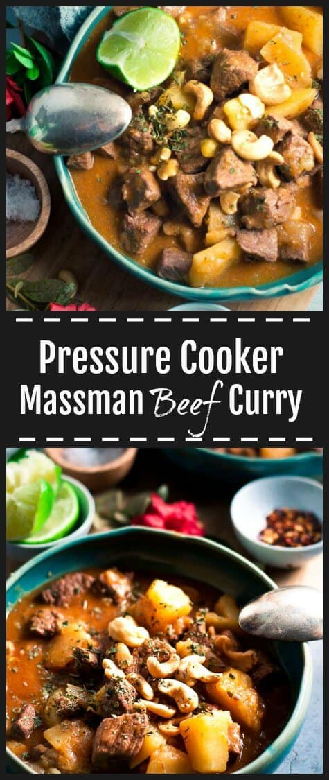 This Pressure Cooker Massman Curry is a delicious fresh, fragrant and aromatic dish to spice up your weeknight menu. Its cooked all in one pot, and with ingredients that will keep in your pantry. This recipe has rich, thick sauce that is slightly sweet, slightly tangy and, chunky melt in your mouth beef pieces. #pressurecooker #instantpot #beefcurry #massamancurry #thaicurry #indiancurry #healthycomfortfood