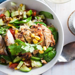 Clean Eating Chicken salad in a white bowl